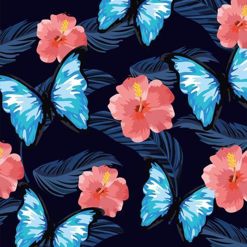 farfalla con sfondo di fiori e piante tropicali vettore