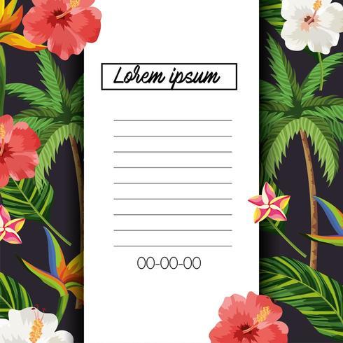carta tropicale con fiori e foglie esotiche vettore