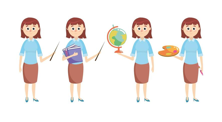 impostare l'insegnante con materiale scolastico per l'istruzione vettore
