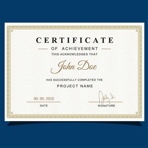 Certificato di apprezzamento stile classico vettore