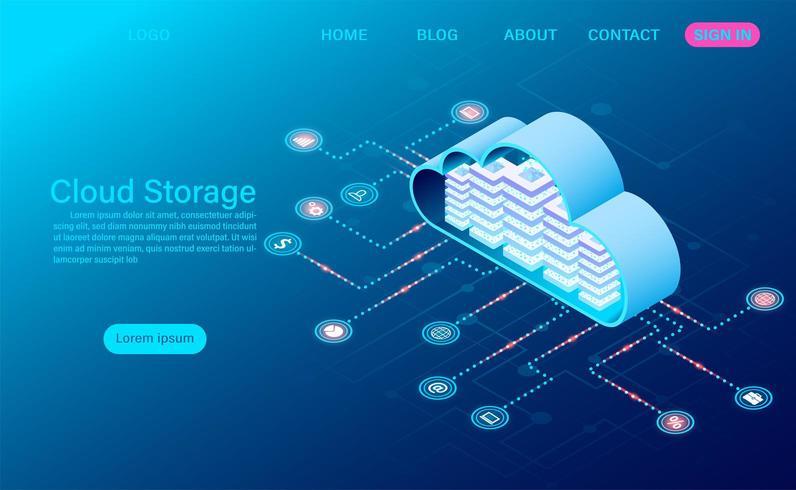 Tecnologia di cloud storage e concetto di rete vettore