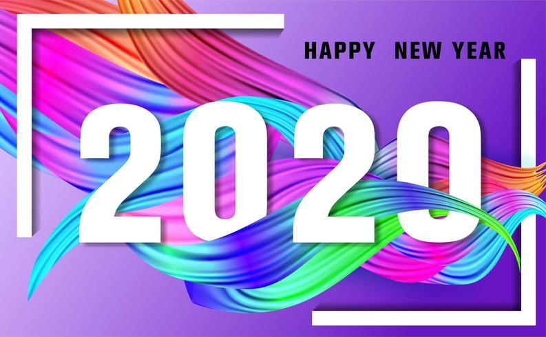 2020 Happy New Year Olio colorato per pennellate vettore
