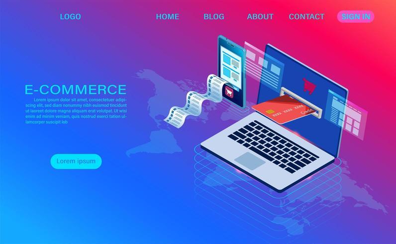 E-commerce acquisti online con landing page del computer vettore