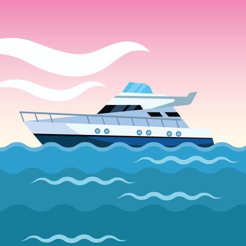 cartone animato barca yacht vettore