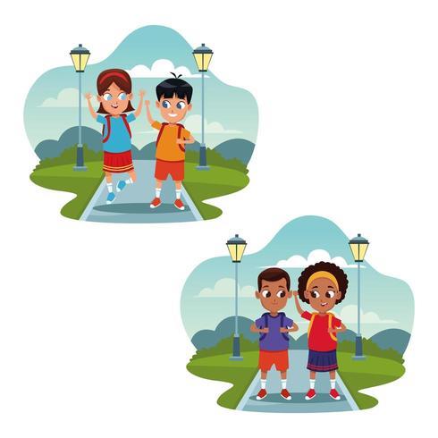 Bambini della scuola con cartoni animati zaino vettore