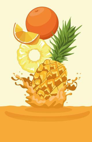 arancia e ananas cadono per frullato vettore