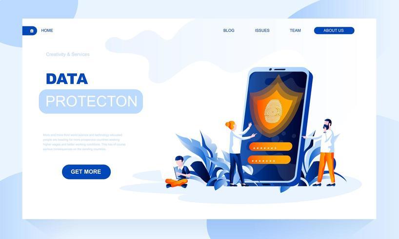 Modello di pagina di destinazione di vettore di protezione dei dati con intestazione