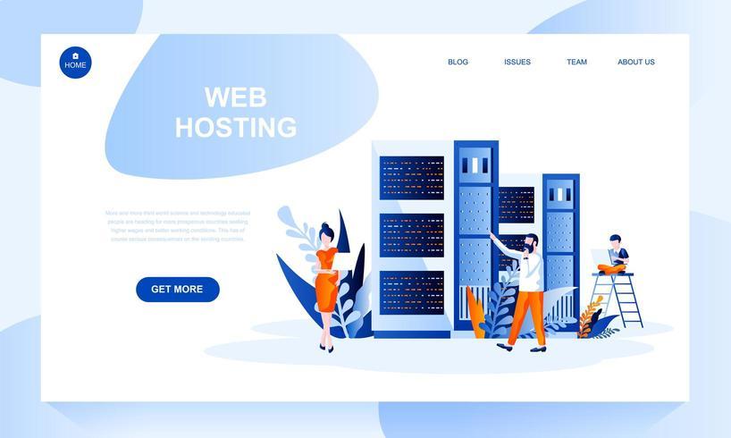 Modello di pagina di destinazione vettoriale web hosting con intestazione
