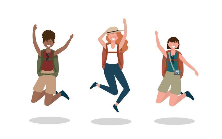 set di donne felici saltando con zaino e fotocamera vettore