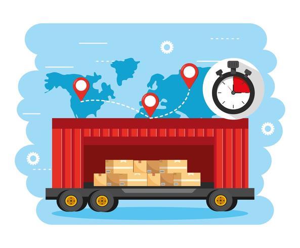 container con scatole di carico e posizione della mappa globale vettore