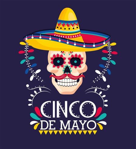 decorazione teschio con cappello a evento messicano vettore