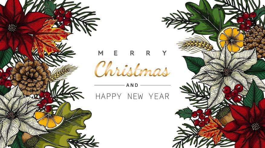 Buon Natale e anno nuovo disegno di fiori e foglie vettore