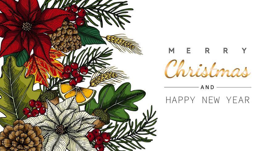 Buon Natale e Anno Nuovo fiore e foglia in disegno ad angolo vettore