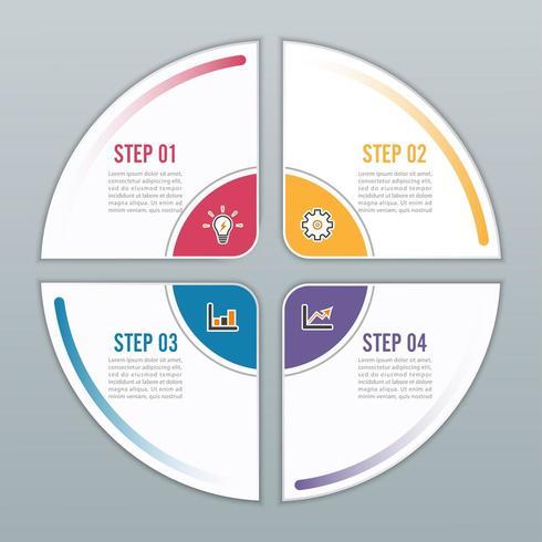 Cerchio infografica modello quattro opzione vettore