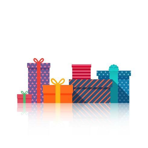 Scatole regalo Bella confezione regalo con fiocco vettore