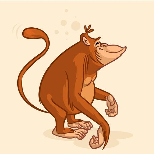 Personaggio dei cartoni animati scimmia orangutan vettore