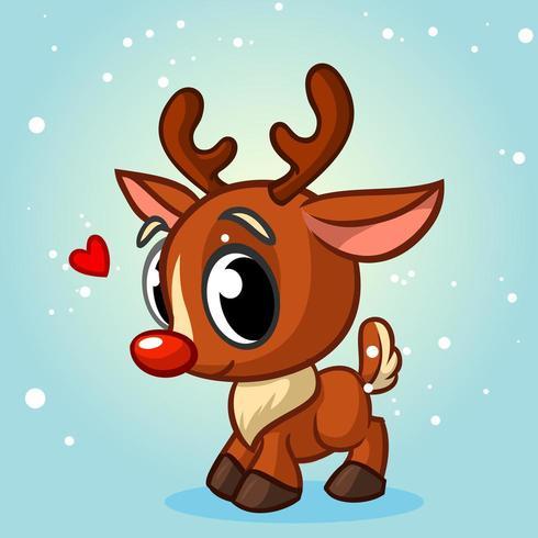 Renna di Natale simpatico cartone animato con naso rosso vettore