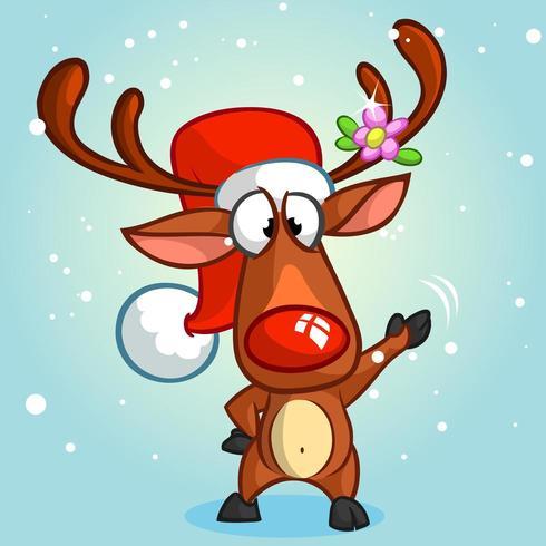 Renne di Natale con naso rosso vettore