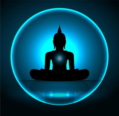 Sagoma di Buddha nero vettore