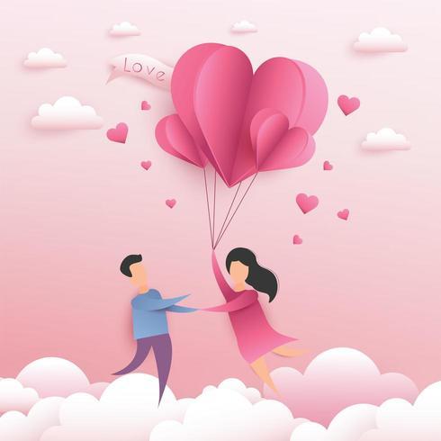 Carta di San Valentino con le coppie che si tengono per mano correndo sulle nuvole con gli aerostati vettore