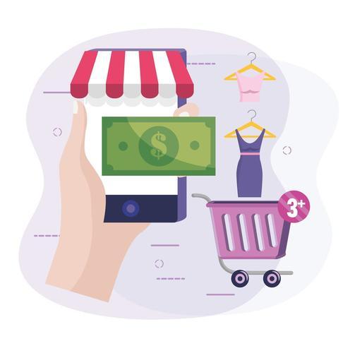 mano con la tecnologia di e-commerce smartphone per acquistare vestiti online vettore