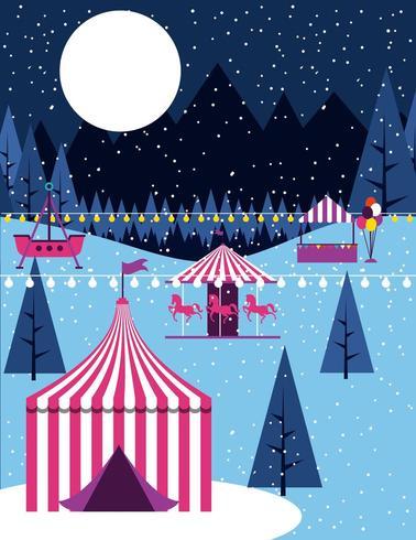Scena di carnevale circo invernale vettore