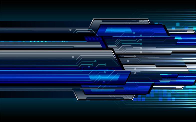 Concetto futuristico del circuito cyber binario blu vettore