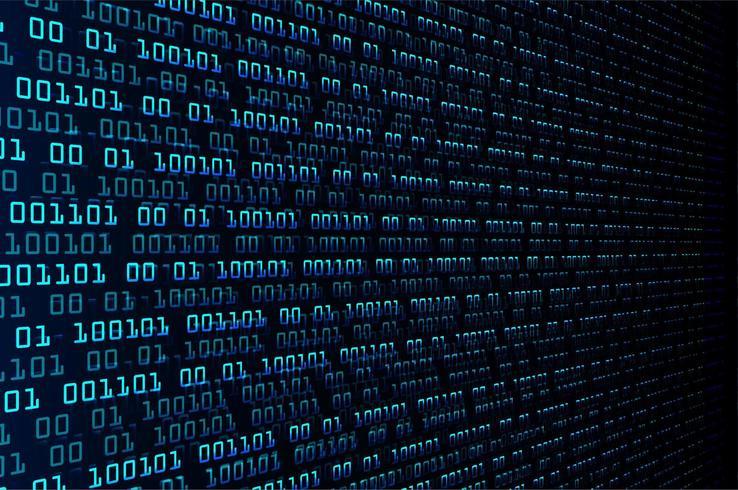 Circuito cyber binario blu vettore
