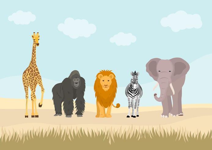 Insieme di animali africani nella giungla. vettore