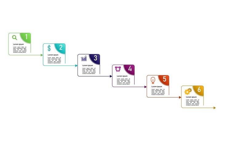 Modello di infografica concetto passo colorato. vettore