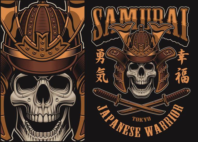 Illustrazione vettoriale con un teschio di samurai