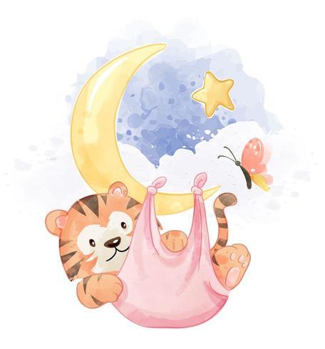 tigre in amaca appesa alla luna vettore