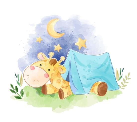 giraffa sveglia che dorme nell'illustrazione della tenda vettore