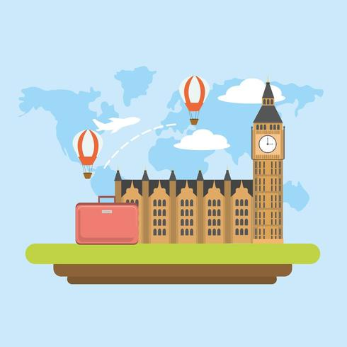 viaggio a Londra con mongolfiere e bagagli vettore