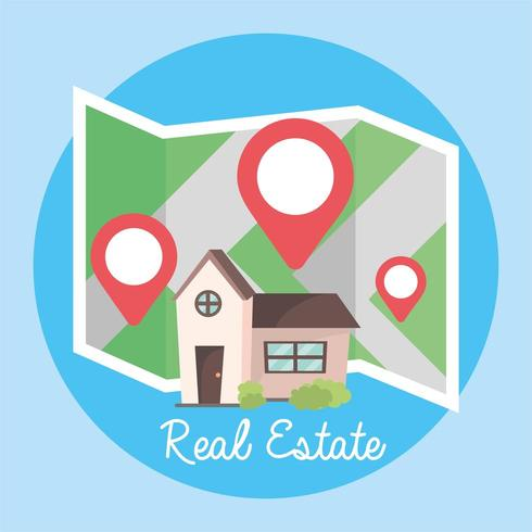 posizione e mappa per ospitare la posizione della proprietà vettore
