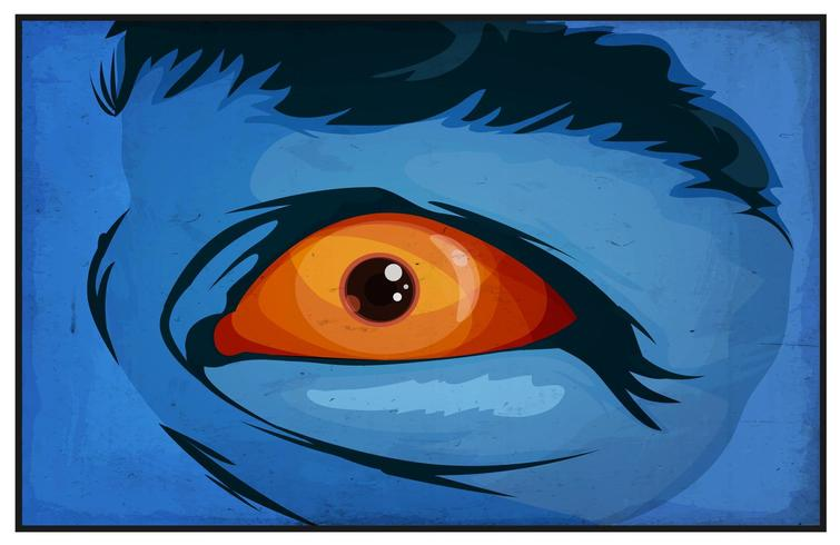 Fumetti mutanti supereroi occhi spaventati vettore