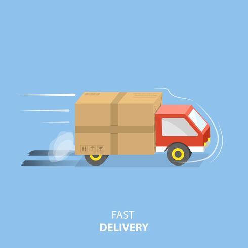 Illustrazione piatta di servizio di consegna veloce. vettore