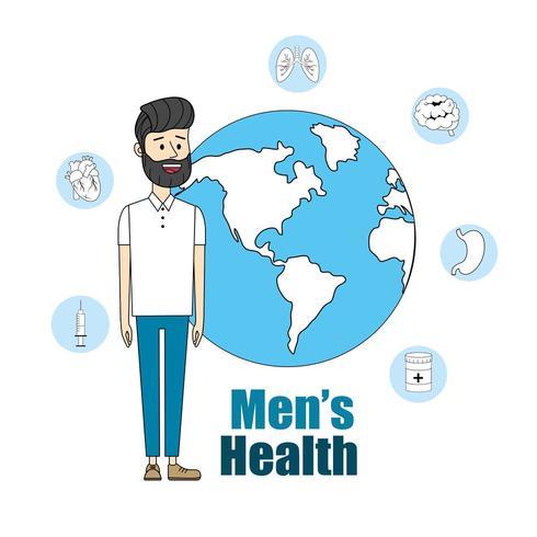 uomo con pianeta globale per la salute degli uomini vettore