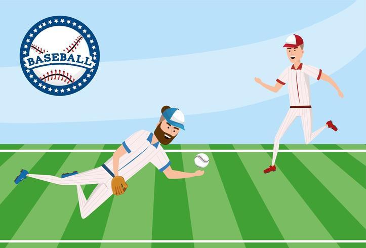 competizione di giocatore di baseball sul campo con la divisa vettore