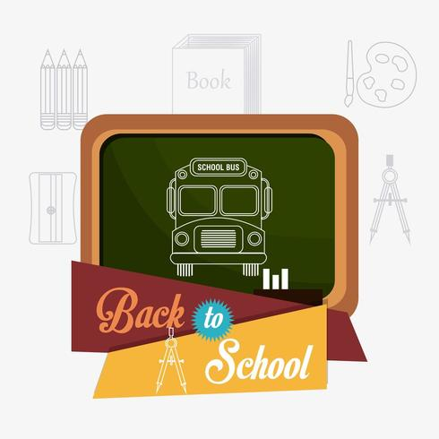 Di nuovo al disegno della scuola con l'autobus sulla lavagna e le icone dei rifornimenti di scuola vettore