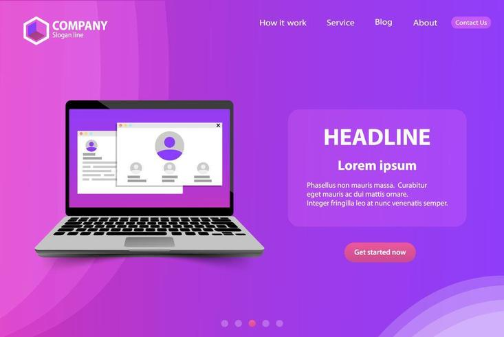 Modello di pagina di destinazione del sito Web alla moda con il computer portatile vettore
