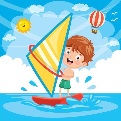 Illustrazione Di Kid Windsurf vettore