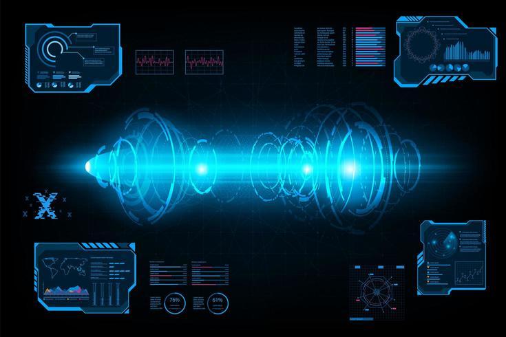 Tunnel di cerchio futuristico sistema astratto vettore