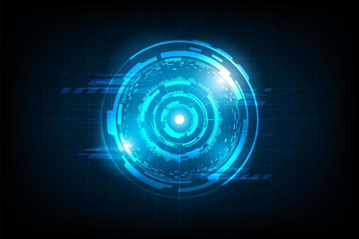 Cerchio astratto collegamento futuristico con luce bagliore vettore