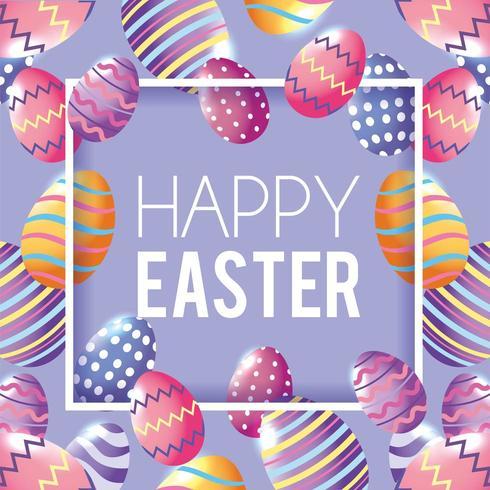 Buona Pasqua con il fondo della decorazione delle uova di Pasqua vettore