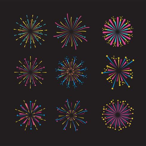 imposta la decorazione notturna dei fuochi d'artificio all'evento vettore