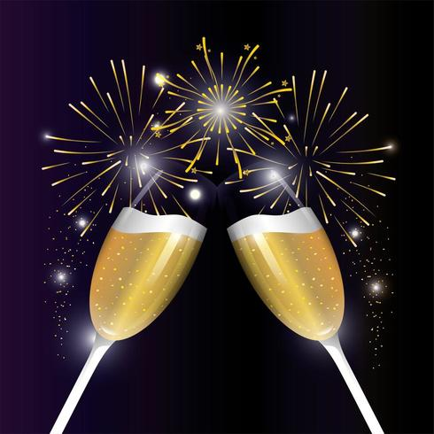 celebrazione dell'esplosione firewrok con un bicchiere di champagne vettore