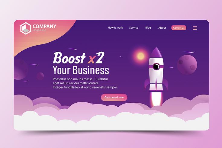 Potenzia la pagina di destinazione del sito Web di Rocket Business vettore