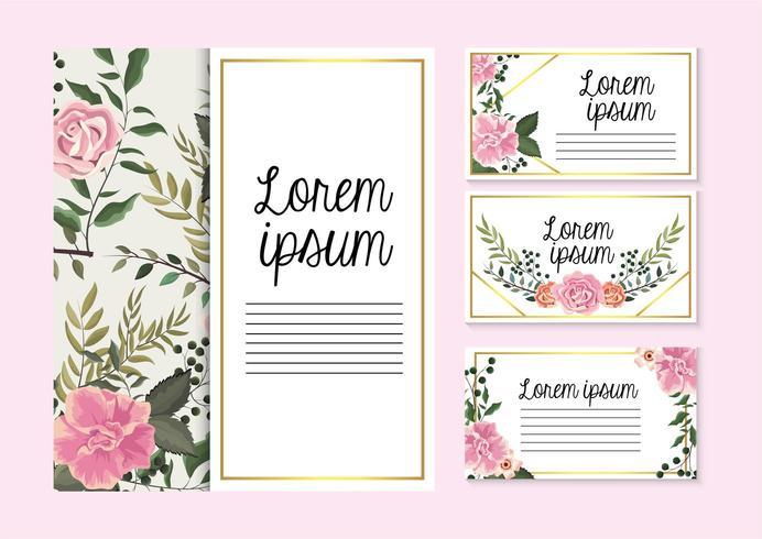 impostare le carte con rose piante con rami di foglie vettore