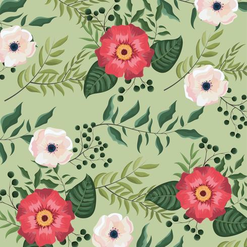 piante di fiori e rose con sfondo di foglie vettore